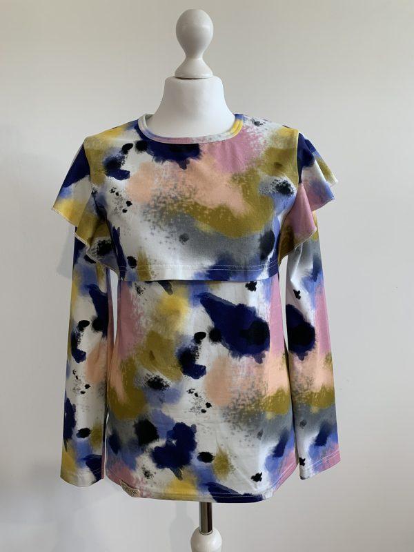 Tričko na dojčenie s volánom - batikové vzory 2