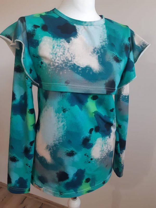 Tričko na dojčenie s volánom - batikové vzory 1