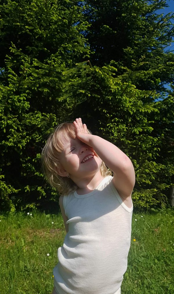 Detské merino tielko krémové 3
