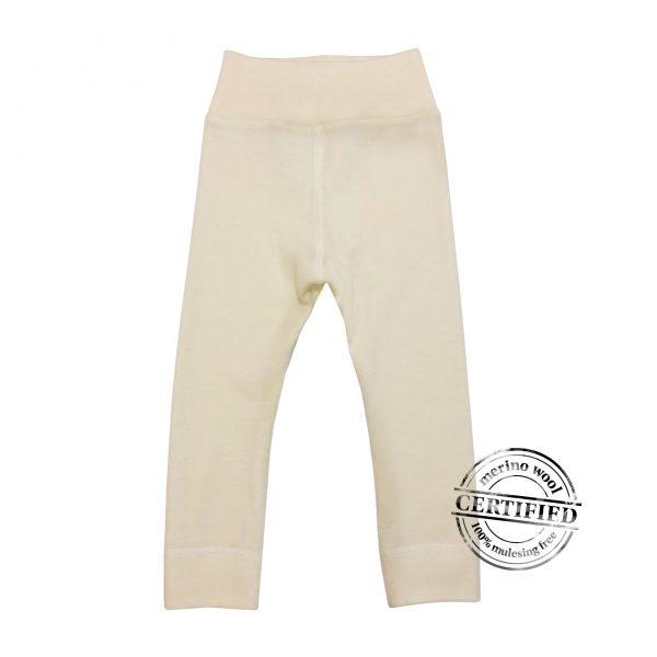Detské merino nohavice krémové 1