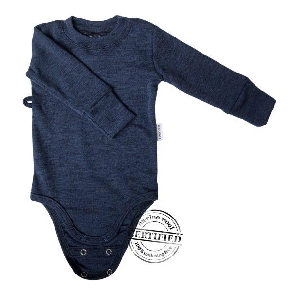 Detské TENKÉ MERINO body modré - dlhý rukáv 1