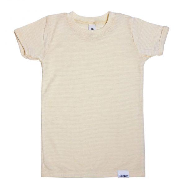 Detské merino tričko (krátky rukáv) krémové 1