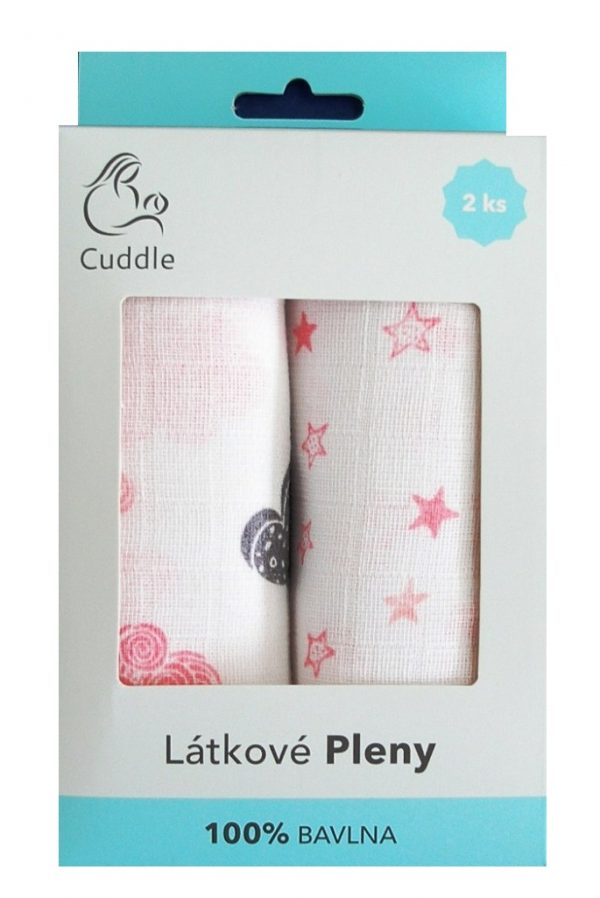 Bavlnené plienky ružové - darčekové balenie 1