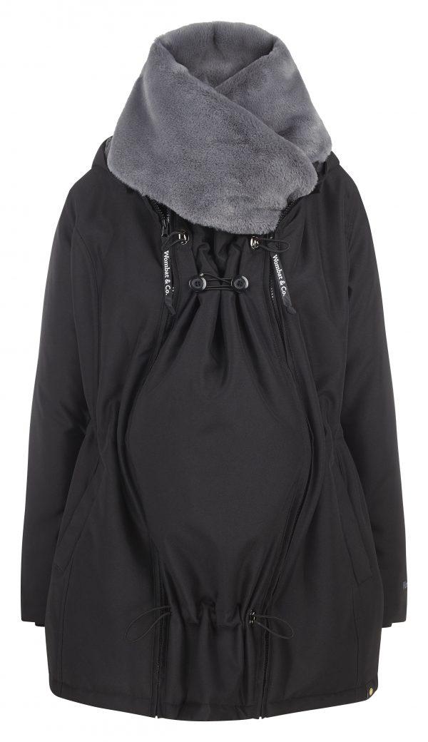 Zimná nosiaca a tehotenská bunda WALLABY 2.0 Black & Charcoal Grey 3
