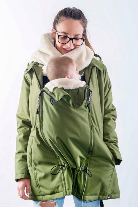 Zimná nosiaca a tehotenská bunda WALLABY 2.0 Forrest Green & Beige 1