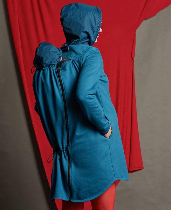 Nosiaca modrá mikina s modrou kapucňou - nosenie 3v1 1