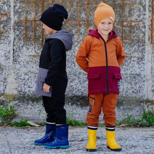 Detské softshellové nohavice - Black&grey 2